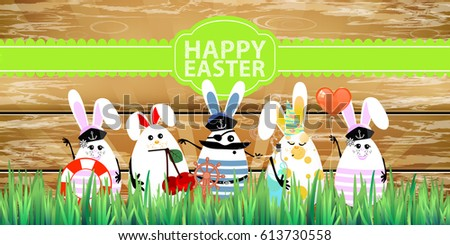easter rabbit eggs with funny