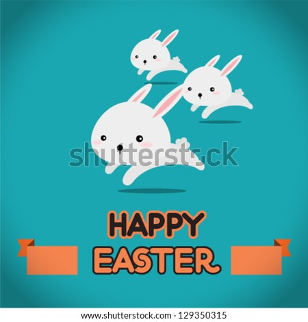 Easter rabbit running
