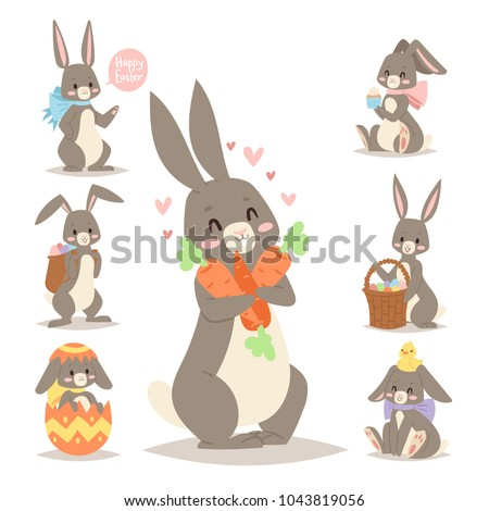 Easter rabbit vector holiday bunny rabbit and Easter eggs pose cute happy spring adorble rabbit animal illustration happy family celebration