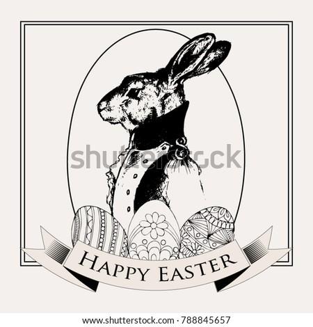 easter rabbit. vintage black...