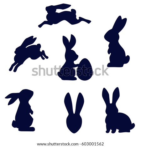 Easter running, looking up and standing with egg rabbits black silhouette. Set of Easter bunny outlines isolated on white background.
