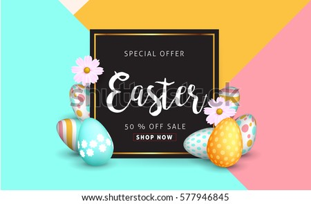 Easter sale banner background template with beautiful colorful spring flowers and eggs. Vector illustration. #577946845