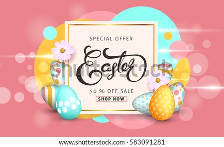 Easter sale banner background template with beautiful colorful spring flowers and eggs. Vector illustration. #583091281