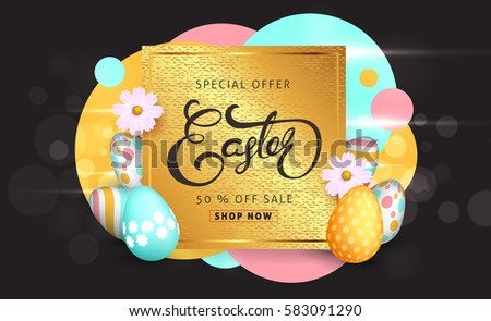 Easter sale banner background template with beautiful colorful spring flowers and eggs. Vector illustration. #583091290