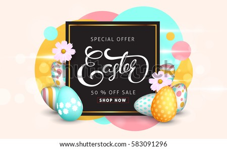 Easter sale banner background template with beautiful colorful spring flowers and eggs. Vector illustration. #583091296