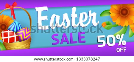 Easter sale banner design. Fifty percent discount, colored eggs and orange flowers on blue and violet background. Illustration can be used for adverts, leaflets, posters