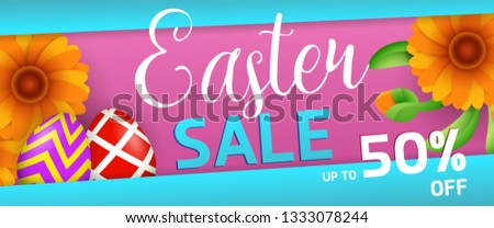 Easter sale banner design. Orange flowers and colored eggs on blue and magenta background. Illustration can be used for adverts, leaflets, flyers, posters