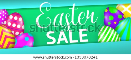 Easter sale colorful banner design. Bright colored eggs on green and blue background. Illustration can be used for adverts, leaflets, posters