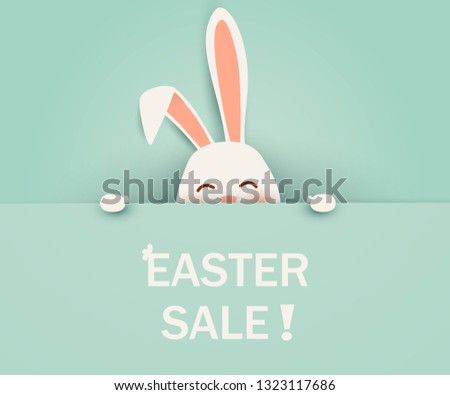 Easter Sale. Happy Easter Rabbit Bunny standing behind a blank sign, showing on big blank sign. Cute, funny cartoon rabbit character. vector illustration.