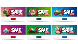 Easter sale, large collection discount banners with Easter symbols, buttons, large letters with red ribbon with offer and polygonal texture. Pink, green and blue easter sales templates for website