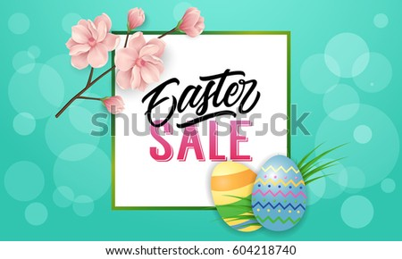 Easter sale text with frame, flowers, eggs #604218740