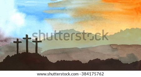 easter scene with cross jesus
