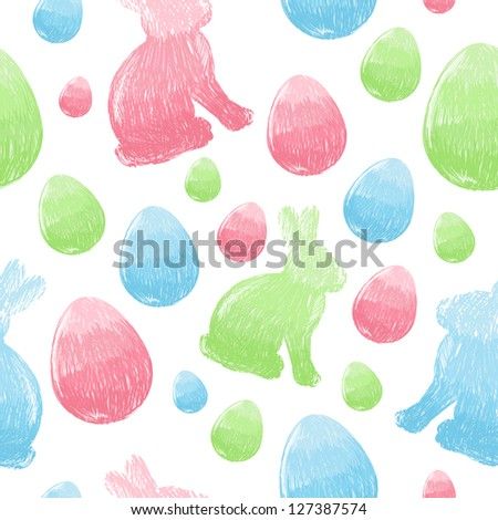 Easter scribble eggs and bunnies colorful seamless pattern