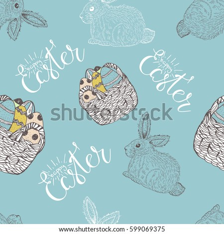 Easter seamless pattern design with bunnies and eggs.Stock vector #599069375