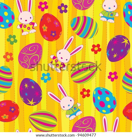 Easter seamless pattern. Global colors.
