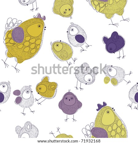 Easter seamless pattern with hen and chicks