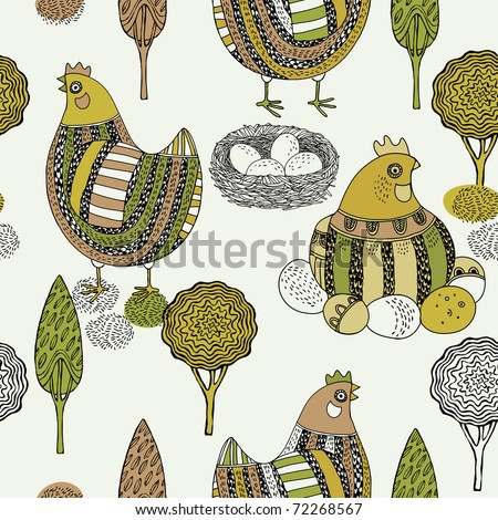 Easter seamless pattern with hen and nest
