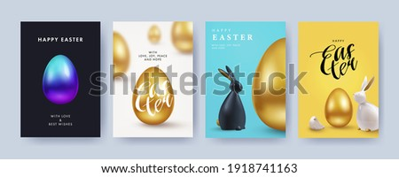 Easter Set of greeting cards, holiday covers, posters, flyers design in 3d realistic style with golden egg and black and white rabbit. Modern minimal design for social media, sale, advertisement, web