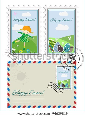 Easter set with envelop and postage stamps