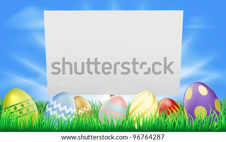 Easter sign illustration in meadow with sun rays and decorated Easter eggs - stock vector