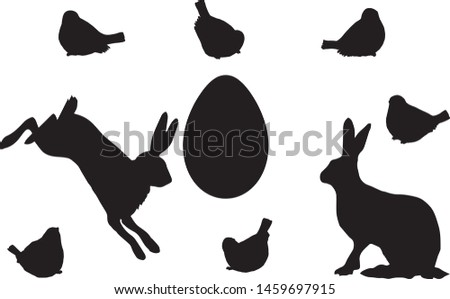Easter silhouettes, elements set white isolated. Basis graphics