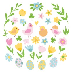 Easter spring set of cute birds, chickens, Easter eggs, flowers, grass, buds. Hand drawn flat cartoon elements. Vector illustration.