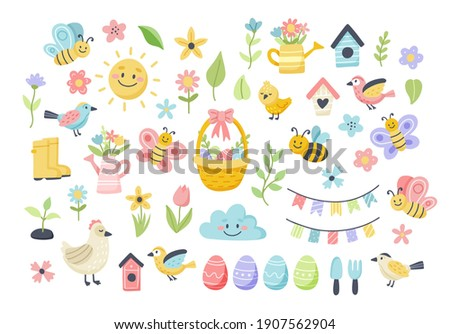 Easter spring set with cute eggs, birds, bees, butterflies. Hand drawn flat cartoon elements. Vector illustration stock photo