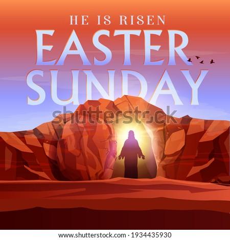 Easter Sunday he is risen vector illustration