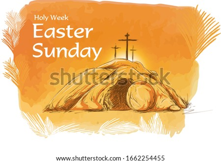 Easter Sunday tomb vector illustration