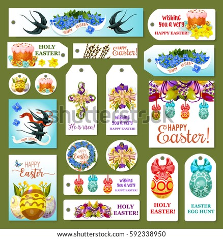 Easter tag and label set. Decorated egg, spring flower, Easter cake, floral cross and wreath with ribbon bow, flying swallow bird, pussy willow tree twig cartoon symbols for Easter holidays design - Shutterstock ID 592338950