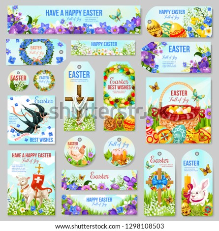 Easter tag and label set for religion holiday design. Easter egg hunt basket, rabbit bunny and cross, spring flower, bird and lamb of God, daffodil, lily and ribbon bow for Easter Sunday celebration