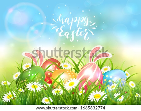 easter theme with eggs and