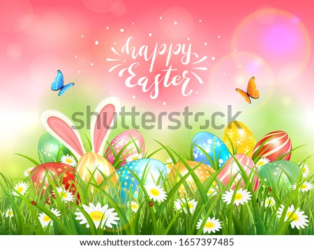 easter theme with eggs in the
