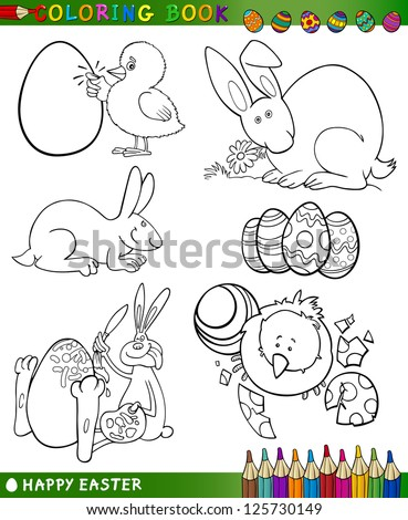 Easter Themes Collection Set of Black and White Cartoon Vector Illustrations for Coloring Book