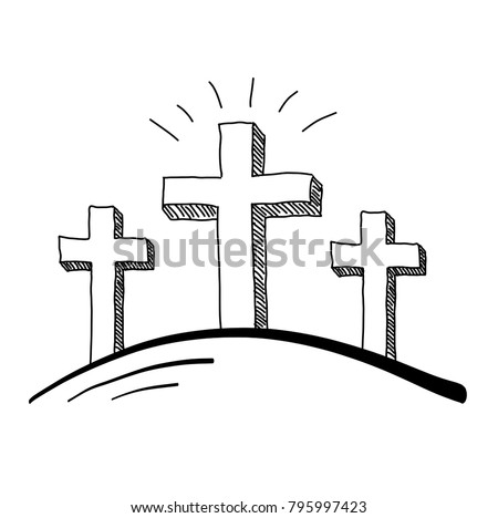easter three crosses doodle