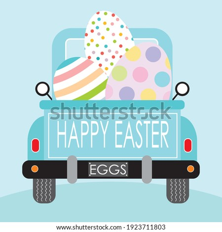 Easter truck and eggs illustration for easter greeting card Foto stock ©
