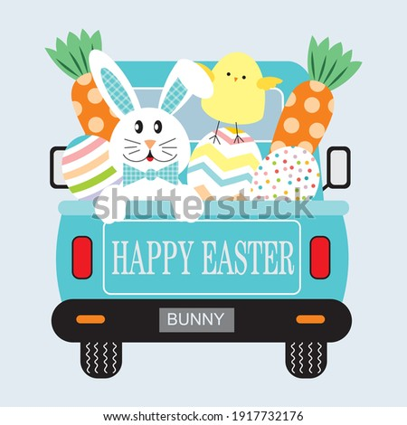 Easter truck, bunny, chicken, eggs and carrot illustration for easter greeting card