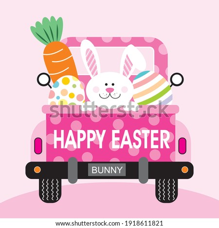 Easter truck, bunny, egg and carrot illustration for easter greeting card