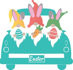 Easter Truck Svg vector Illustration isolated on white background. Easter Truck with easter gnome for Cricut and Silhouette. Vintage truck for design shirt and scrapbooking.Easter gnome image