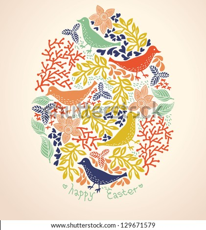 Easter vector background with colorful birds and flowers - stock vector
