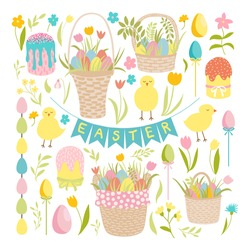 Easter vector clip art set. Happy Easter. Different kinds of vector element for April holiday decor. Baby chickens, wicker picnic basket, coloured eggs, garlands, cake, tulips, flowers, leaves.
