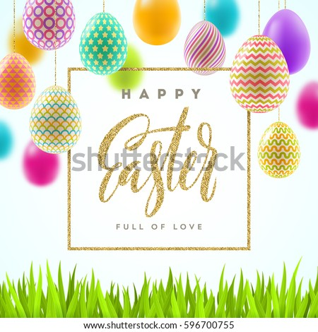 Easter vector illustration with glitter gold calligraphic greeting and multicolored painted Easter eggs.