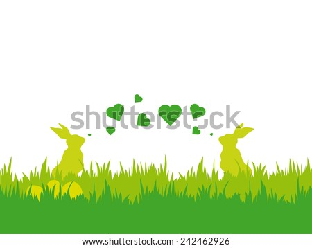 Easter vector illustration with silhouettes of two bunnies blowing valentine hearts eggs and grass
