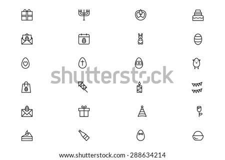 easter vector outline icons 4