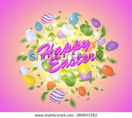 Easter vector splash with egg, leaves, spark and light effect. Abstract glowing sparkling explosive with easter colored eggs on pink background #380841982