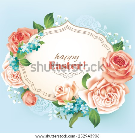easter vintage card with roses