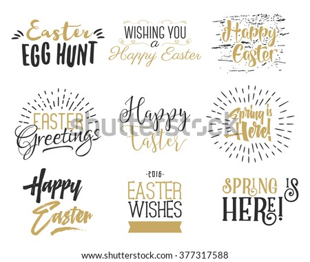 Easter wishes overlays, lettering labels design set. Retro holiday easter badges. Hand drawn emblem with ribbon. Isolated. Religious holiday sign or logo. Easter photo overlays design for web, print.