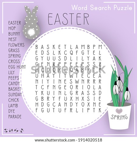 Easter word search puzzle. Educational game for kids. Holiday crossword. Suitable for social media post.  Сolorful worksheet for learning English words.  Foto stock ©
