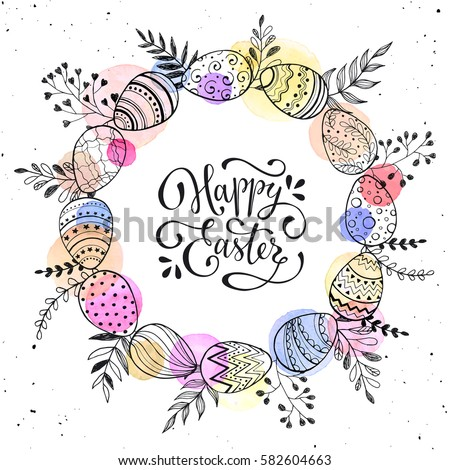 Easter wreath with easter eggs hand drawn black on white background. Decorative doodle frame from Easter eggs and floral elements. Easter eggs with ornaments in circle shape with watercolor dots. #582604663
