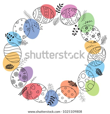 Easter wreath with easter eggs hand drawn on white background. Easter eggs with ornaments in circle shape with watercolor dots #1025109808